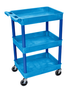 Luxor Blue 3 Shelf Tub Cart