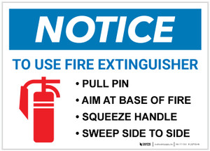 Notice: Fire Extinguisher Procedure Landscape - Label