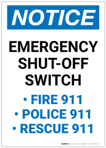 Notice: Emergency Shut-Off Switch - Police/Fire/Rescue 911 Portrait - Label