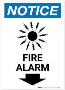 Notice: Fire Alarm with Down Arrow Portrait - Label