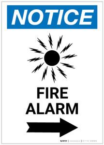 Notice: Fire Alarm with Right Arrow Portrait - Label
