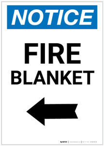 Notice: Fire Blanket with Left Arrow Portrait - Label