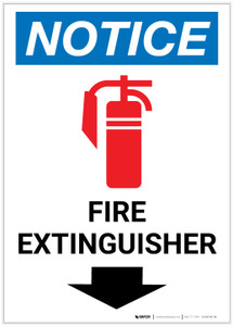 Notice: Fire Extinguisher with Down Arrow with Icon Portrait - Label