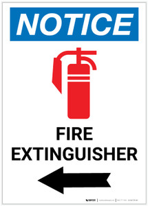 Notice: Fire Extinguisher with Left Arrow and Icon Portrait - Label