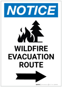Notice: Wildfire Evacuation Route with Right Arrow and Icon Portrait - Label
