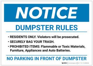 Notice: Dumpster Rules Landscape - Label