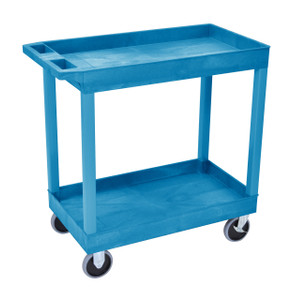 Luxor HD High Capacity 2 Tub Shelves Cart in Blue