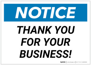 Notice: Thank You For Your Business Landscape - Label