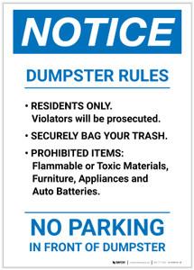 Notice: Dumpster Rules Portrait - Label