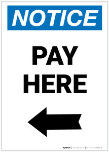 Notice: Pay Here with Left arrow Portrait - Label