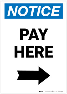 Notice: Pay Here with Right arrow Portrait - Label