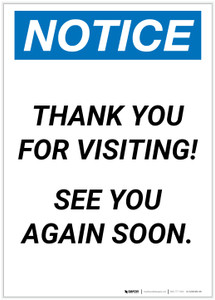 Notice: Thank You For Visiting - See You Again Soon Portrait - Label