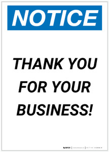Notice: Thank You For Your Business! Portrait - Label