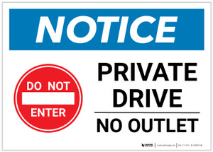 Notice: Private Drive - No Outlet with Icon Landscape - Label
