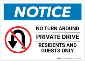 Notice: Private Drive - Residents and Guests Only - No Outlet Landscape - Label