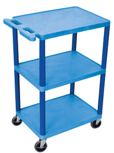 Luxor 3 Shelf Utility Cart Blue