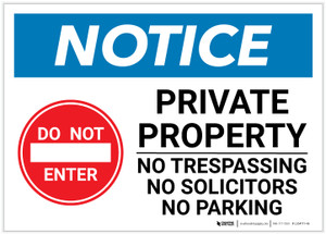 Notice: Private Property - No Trespassing/Solicitors/Parking with Icon Landscape - Label