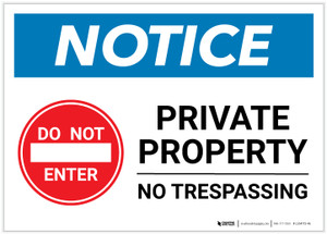 Notice: Private Property - No Trespassing with Icon Landscape - Label
