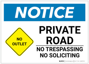 Notice: Private Road - No Trespassing/Soliciting with Icon Landscape - Label
