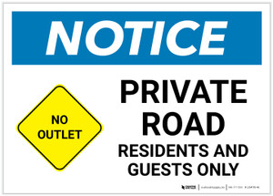 Notice: Private Road - Residents and Guests Only with Icon Landscape - Label