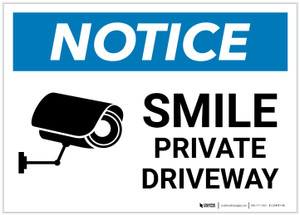 Notice: Smile - Private Driveway with Icon Landscape - Label