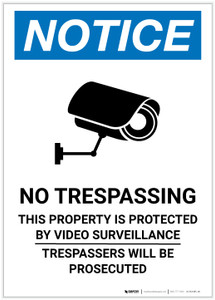 Notice: No Trespassing - Trespassers will be Prosecuted with Icon Portrait - Label