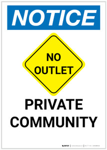Notice: Private Community with No Outlet Icon Portrait - Label