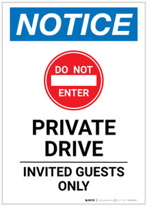 Notice: Private Drive - Invited Guests Only Portrait - Label
