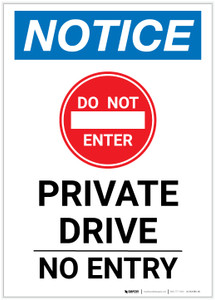 Notice: Private Drive - No Entry Portrait - Label