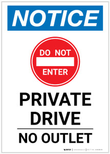 Notice: Private Drive - No Outlet with Icon Portrait - Label