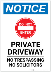 Notice: Private Driveway - No Trespassing/Solicitors Portrait - Label