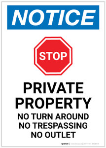 Notice: Private Property - No Turn Around/Trespassing/Outlet Portrait - Label