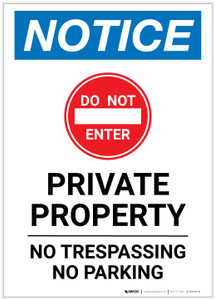 Notice: Private Property - No Trespassing/Parking Portrait - Label