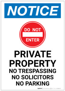 Notice: Private Property - No Trespassing/Solicitors/Parking with Icon Portrait - Label
