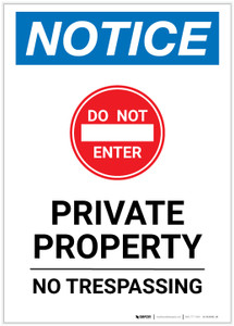 Notice: Private Property - No Trespassing Portrait - Label