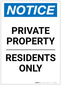 Notice: Private Property - Residents Only Portrait - Label
