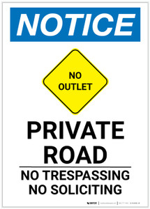 Notice: Private Road - No Trespassing/Soliciting with Icon Portrait - Label