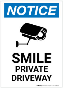 Notice: Smile - Private Driveway with Icon Portrait - Label