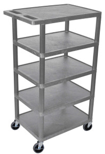 Luxor Five Flat Shelf Gray Utility Cart
