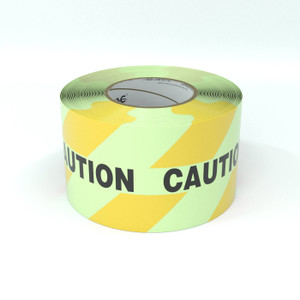 SafetyTac® Glowstripe: Caution with Hazard Stripe - Inline Printed Floor Marking Tape