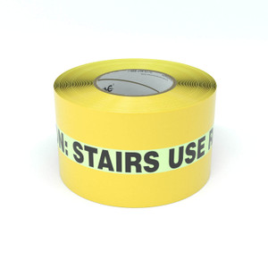 SafetyTac® Glowstripe: Caution: Stairs - Use Railing - Inline Printed Floor Marking Tape