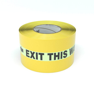 SafetyTac® Glowstripe: Exit This Way With Arrows - Inline Printed Floor Marking Tape
