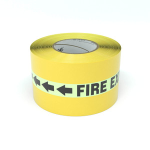 SafetyTac® Glowstripe: Fire Exit With Arrows - Inline Printed Floor Marking Tape