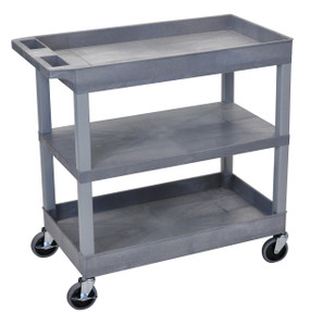 Luxor EC121 Gray 18x.32 Cart 2 Tub with 1 Flat Shelf