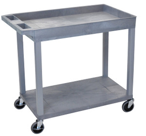 Luxor Gray EC12 18x32 Cart 1 Tub/ 1 Flat Shelf