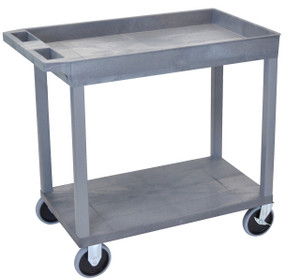Luxor Gray EC12HD 18x32 Cart 1 Tub with 1 Flat Shelf