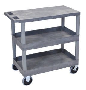 Luxor Gray EC211HD 18x32 Cart with 2 Tub/1 Flat Shelves