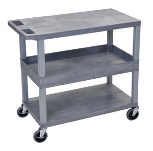 Luxor Gray EC212-G 18x32 Cart 2 Flat/1 Tub Shelves