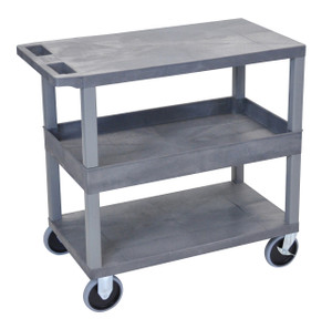 Luxor Gray EC212HD-G 18x32 Cart with 2 Flat/1Tub Shelves