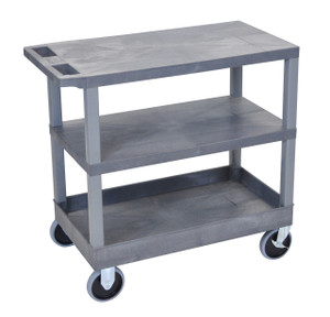 Luxor Gray EC221HD-G 18x32 Cart 2 Flat/1 Tub Shelves
